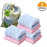 H-BIRDS Baby Washcloths Soft Newborn Baby Face Towel Natural Cotton Baby Wipes Washcloth for Sensitive Skin - Baby Registry as Shower Gift (3 Pack Blue & 3 Pack Pink)