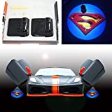 Spoya Superman S badge logo wireless magnetic Black car door LED welcome logo shadow laser projector light