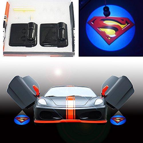 Spoya Superman S badge logo wireless magnetic Black car door LED welcome logo shadow laser projector light by Spoya