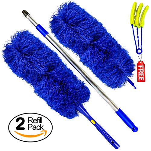 Temples Pride Microfiber Hand Duster With Extendable High Reach Extension Pole | Washable Feather Alternative for ceiling, fans, cobweb remover, blinds, Limited Time Plus Size Bonus Pack Offer (Electrostatic Duster)
