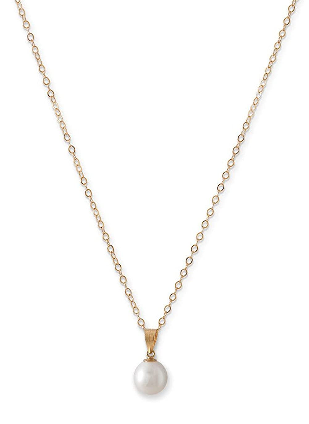 14K Yellow Gold Chain Necklace 7.5mm Cultured Freshwater Pearl Pendant 16 inch