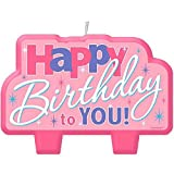 Amscan ''Happy Birthday'' Candle, Colorful Pink, 2'' x 4''