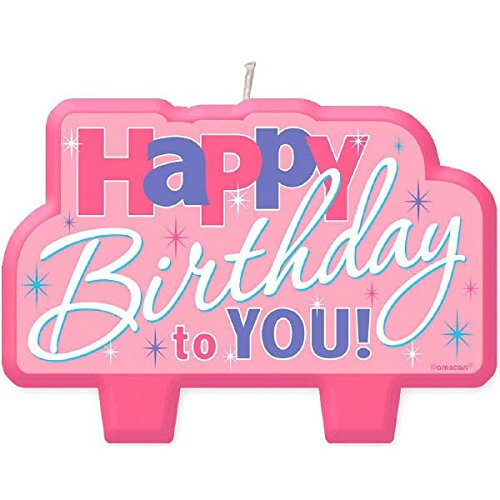 Amscan ''Happy Birthday'' Candle, Colorful Pink, 2'' x 4'' by Amscan (Image #1)