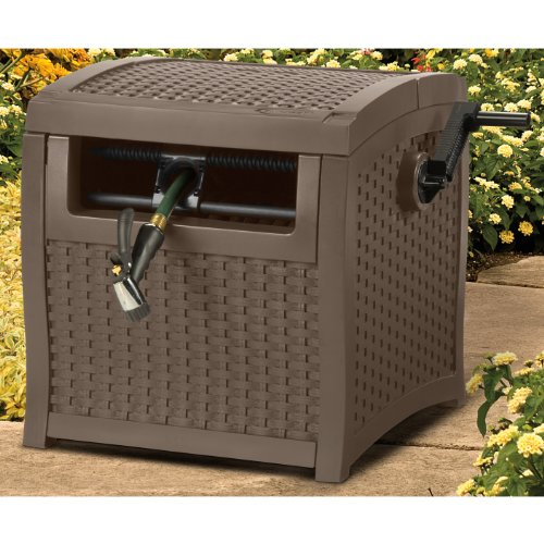 Suncast SMW200 Mocha Wicker 225-Foot Capacity Smart Trak Hideaway Hose Reel