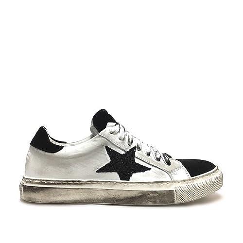 in vendita 5a221 19741 Sneakers Donna con Stella Glitter Nero Vera Pelle Made in Italy