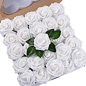 Umiss Wedding Bouquet 50pcs Artificial Flowers White Real Touch Artificial Roses for Bouquets Centerpieces Wedding Party Baby Shower DIY Decorations (White) 97