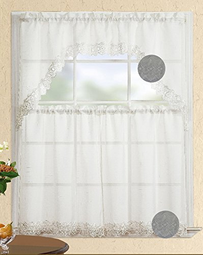 Fancy Collection 3pc White with Decoration Kitchen/cafe Curtain Tier and Swag Set by Fancy Linen (Cafe Collection)