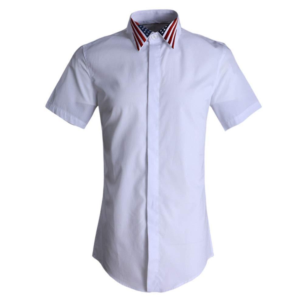 Blanc 4XL Allibuyms Chemise décontractée pour Hommes Chemises de Travail décontractées pour Hommes d'affaires à Manches Courtes pour Hommes (Couleur   Noir, Taille   XXL)