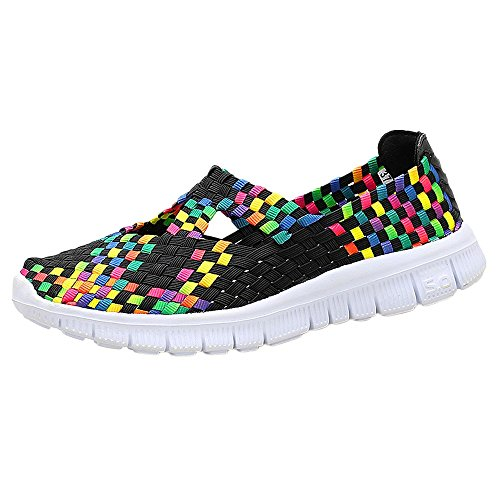 ♡QueenBB♡ Women's Slip On Walking Shoes Woven Stretch Mesh Loafers Lightweight Mary Jane Flat Sneakers Multicolor Black ()