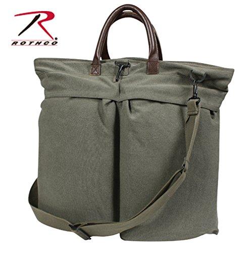 Rothco Vint Canvas/Leather Helmet Shoulder Bag, Olive - Helmet Bag Flyers