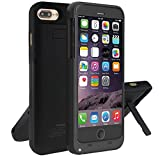 iPhone 7 Plus Battery Case, Bovon 4000mAh Ultra Slim Rechargeable Extended Charging Case Battery Pack Portable Backup Power Bank Case with Kickstand for Apple iPhone 7 / 6S / 6 Plus 5.5 inch (Black)