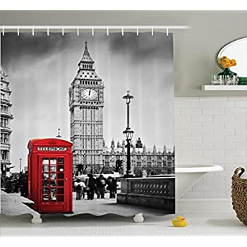 london decor shower curtain set by ambesonne historical old tower bridge in london british kingdom skyline ancient cultural monuments view bathroom