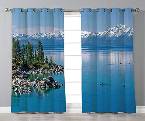 nsLandscapeBlue Waters of Lake Tahoe Snowy Mountains Pine Trees Rocks Relax ShoreLight Blue Green Grey2 Panel Window Drapesfor Living Room Bedroom Kitchen Cafe ()
