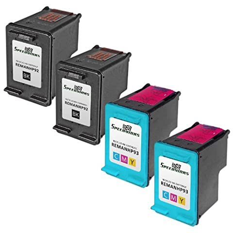 Speedy Inks - 4PK Remanufactured replacement for HP 92 C9362WN & HP 93 C9361WN Ink Cartridge Set: 2 Black & 2 (Ink Cartridge Hp 92 93)