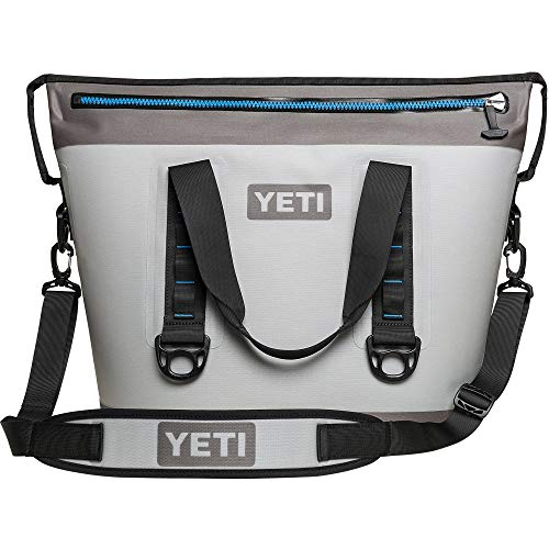 YETI Hopper Two 30 Portable Cooler, Fog Gray/Tahoe Blue (Renewed)]()