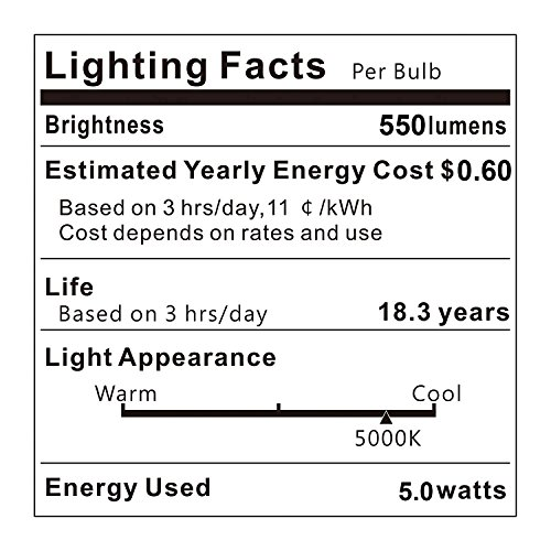 Ascher E12 LED Candelabra Light Bulbs, Equivalent 60W, 550LM, Daylight White 5000K, Candelabra Base, Non-dimmable, Chandelier Bulb, Pack of 5 by Ascher (Image #5)