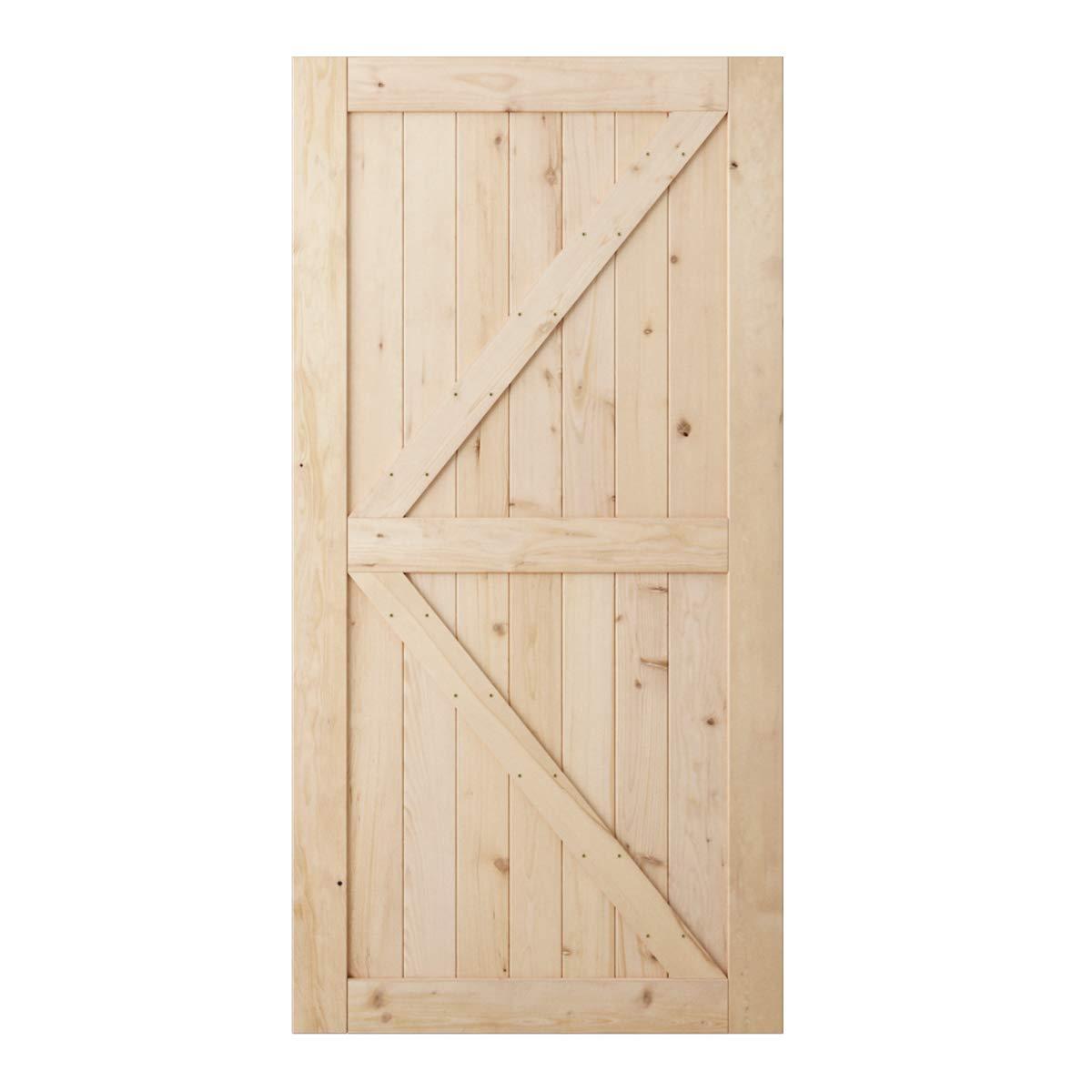 SmartStandard 42in x 84in Sliding Barn Wood Door Pre-Drilled Ready to Assemble, DIY Unfinished Solid Hemlock Wood Panelled Slab, Interior Single Door Only, Natural, K-Frame