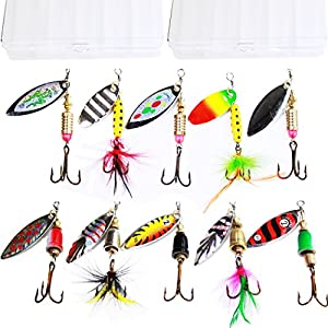 10pcs Fishing Lure Spinners,Bass Trout Salmon Hard Metal Spinnerbaits kit with 2 Tackle Boxes by Tbuymax from Tbuymax