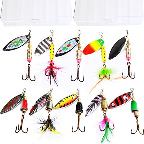 10pcs-Fishing-Lure-Spinnerbait-Bass-Trout-Salmon-Hard-Metal-Spinner-baitskit-with-2-Tackle-Boxes-by-Tbuymax