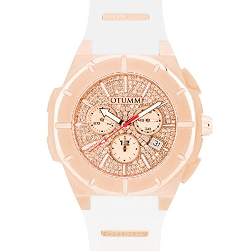 Otumm Diamond Speed II - Reloj unisex con esfera de diamante, oro rosa y blanco, 45 mm: Amazon.es: Relojes