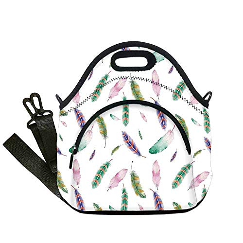 Feather House Decor Printing Neoprene Lunch Bag,Irregular Watercolors Feather Patterns in Soft Pastel Mint Plumage Design for Work Outdoor Travel Picnic,With Pocket(12.6''L x 6.3''W x 12.6''H)