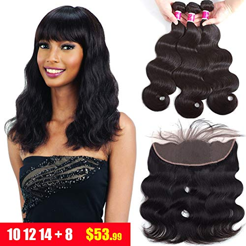 Sky Brazilian Body Wave 3 Bundles With Lace Frontal (10 12 14+8) 100% Human Hair Bundles With 13x4 Ear To Ear Frontal Lace Closure With Baby Hair Unprocessed Human Hair Extensions Natural Black