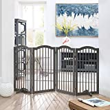 unipaws Freestanding Dog Gate w/2pcs Support Feet, Foldable Pet Gate for Stairs, Pet Gate Panels, Decorative Indoor Pet Barrier with Arched Top | Grey