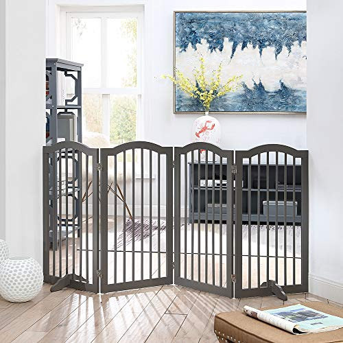 unipaws Freestanding Dog Gate with 2pcs Support Feet, Foldable Pet Gate for Stairs, Decorative Indoor Pet Barrier with Arched Top, Grey (4 Panels, 20 inches Wide, 36 inches High)