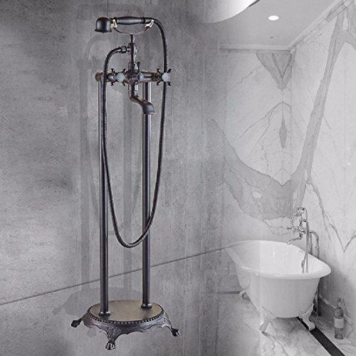 WAWZJ Bathroom Shower Set European All Copper Floor Type Bathtub Faucet Antique Imperial Concubine Shower Shower Bath Side Vertical Shower,D -