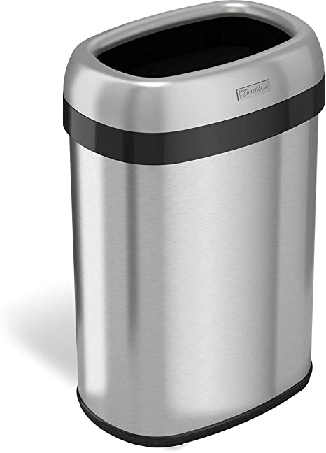 Itouchless 13 Gallon Dual Deodorizer Oval Open Top Trash Can Commercial Grade Stainless Steel 49 Liter 12 Inch Opening Garbage Can Amazon Ca Home Kitchen
