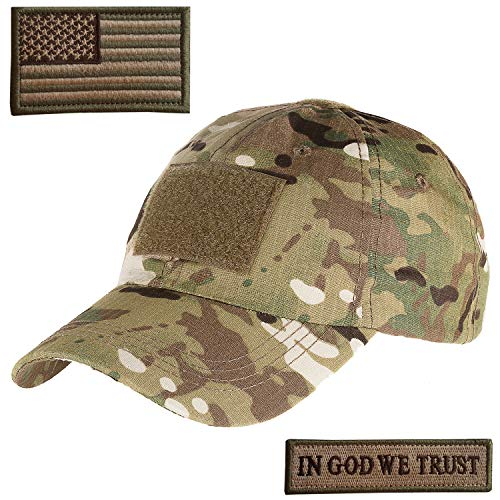 (Lightbird Multicam Tactical Hat with 2 Pieces Military Patches, Adjustable Operator OCP US Flag Hats Cap)
