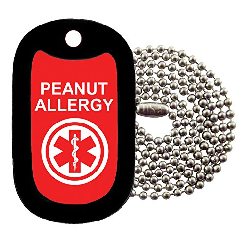 (Military Dog Tags - medical alert PEANUT ALLERGY Dog Tag Necklace - Tag-Z)