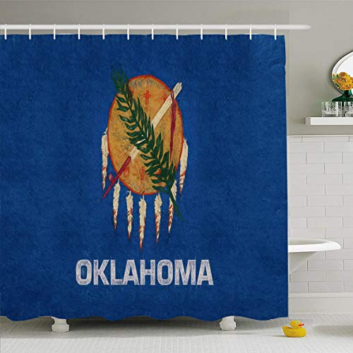 Ahawoso Shower Curtain 72x72 Inches Country American Oklahoma State America Dirty Emblem Grungy Heritage Design Waterproof Polyester Fabric Set with Hooks