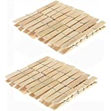 Smile n Style Essentials Wooden Bamboo Cloth Clips/Pegs -Set of 40