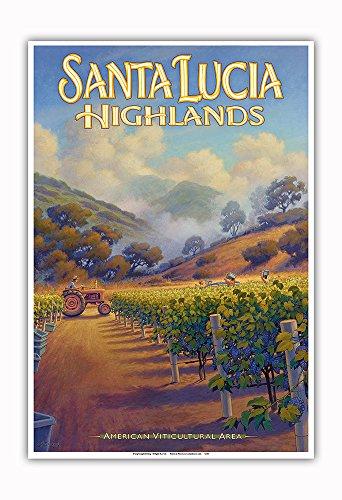 Pacifica Island Art - Santa Lucia Highlands Wineries - Boekenoogen Winery - Central Coast AVA Vineyards - California Wine Country Art by Kerne Erickson - Master Art Print - 13in x 19in