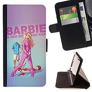 BullDog Case - FOR/HTC One M7 / - / doll blonde thin move uma parody sword /- Monedero de cuero de la PU Llevar cubierta de la caja con el ID Credit Card Slots Flip funda de cuer