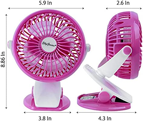 Small Personal Fan Mini Desk Table Fan Portable Powered by Rechargeable 2600mAh Battery or USB SkyGenius Battery Operated Clip on Fan for Baby Stroller Car Back Seat Travel Outdoors Camping Pink