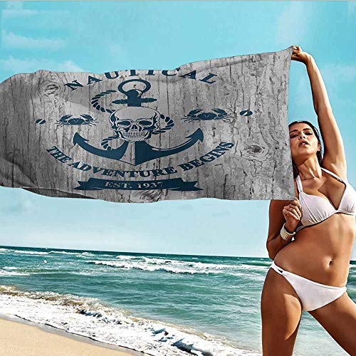 Sports Towel Balloon Anchor,Art with Anchor Skull Rope Nautical The Adventure Begins Message Historic,Beige Navy Blue,Suitable for Home,Travel,Swimming Use 20