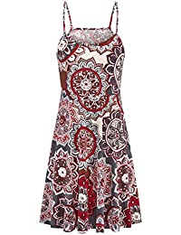 Women Summer Casual Spaghetti Strap Floral Swing Midi Dress with Pocket