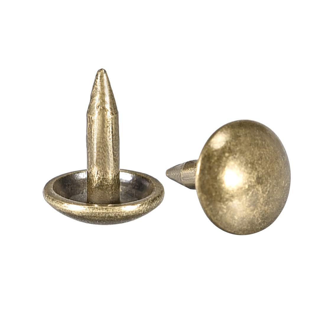 Upholstery Nails Tacks 8mm Head Dia Round Thumb Push Pins Bronze Tone 100 Pcs