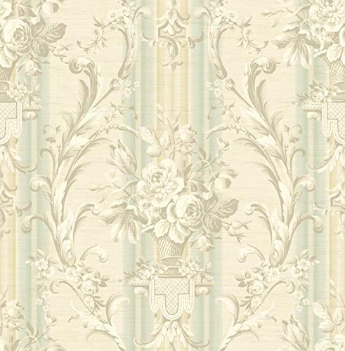 Woven Urn - Antique Urn Wallpaper with Stripe in Light Blue TX41604 from Wallquest