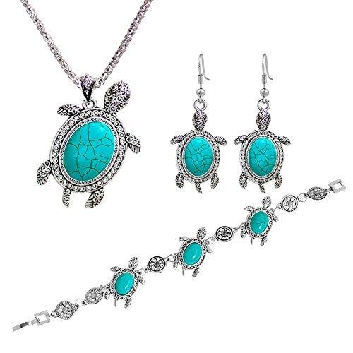 Diamondo Women Tortoise Silver Turquoise Necklace Earring Bracelet Jewelry Set -