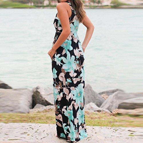WuyiMC Tunic Maxi Dress, Women's Summer Casual Floral Print Racerback Sleeveless Pocket Long Boho Dress On Clearance