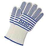 Oven Gloves Scald-proof Heat-resistant Double-sided Silicone Coating, Fingers Separated Knitted Gloves, Kitchen Baking BBQ Grilling Camping Use - [ DAGO-Mart Quality Guarantee ]