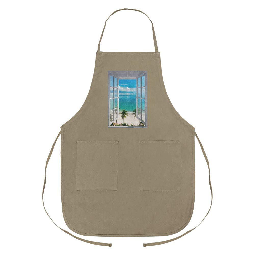 Tropical Vacation Beach Ocean Window View Apron with Pockets