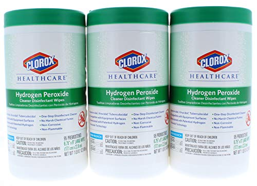 """3 Pk. Clorox Healthcare Hydrogen Peroxide Cleaner Disinfectant Wipes 6.75"""" x 5.75"""" 95 Count (285 Count Total)"""