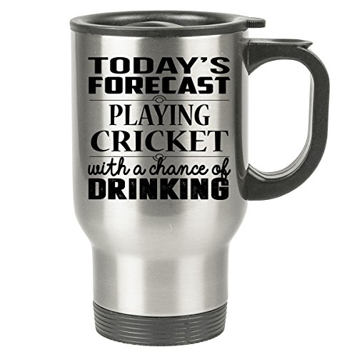 CRICKET Travel Mug - CRICKET Gifts - Stainless Steel Travel Mug, Coffee Cup - Stump Card Game