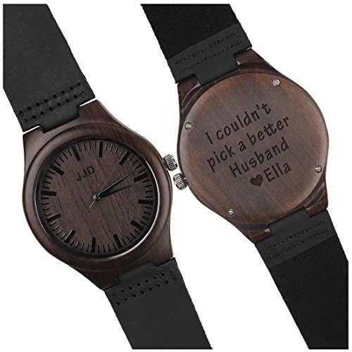Custom Engraved Wooden Watches for Men Genuine Black Leather