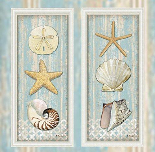 FRAMED SET Spa Shells (Starfish, Scallop, Conch) (Sand Dollar, Starfish Nautilus) Vertical I & II by Paul Brent 20x8 Art Print Poster Wall Decor Cottage Seaside Beach Seashells Ocean