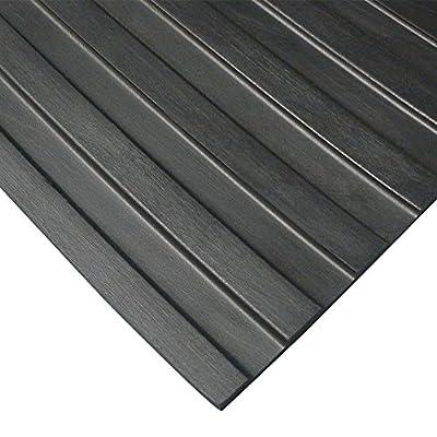 """""""Wide Rib"""" Rubber Flooring Mat - 1/8"""" Thick x 4ft x 10ft - Black Runner Mats"""